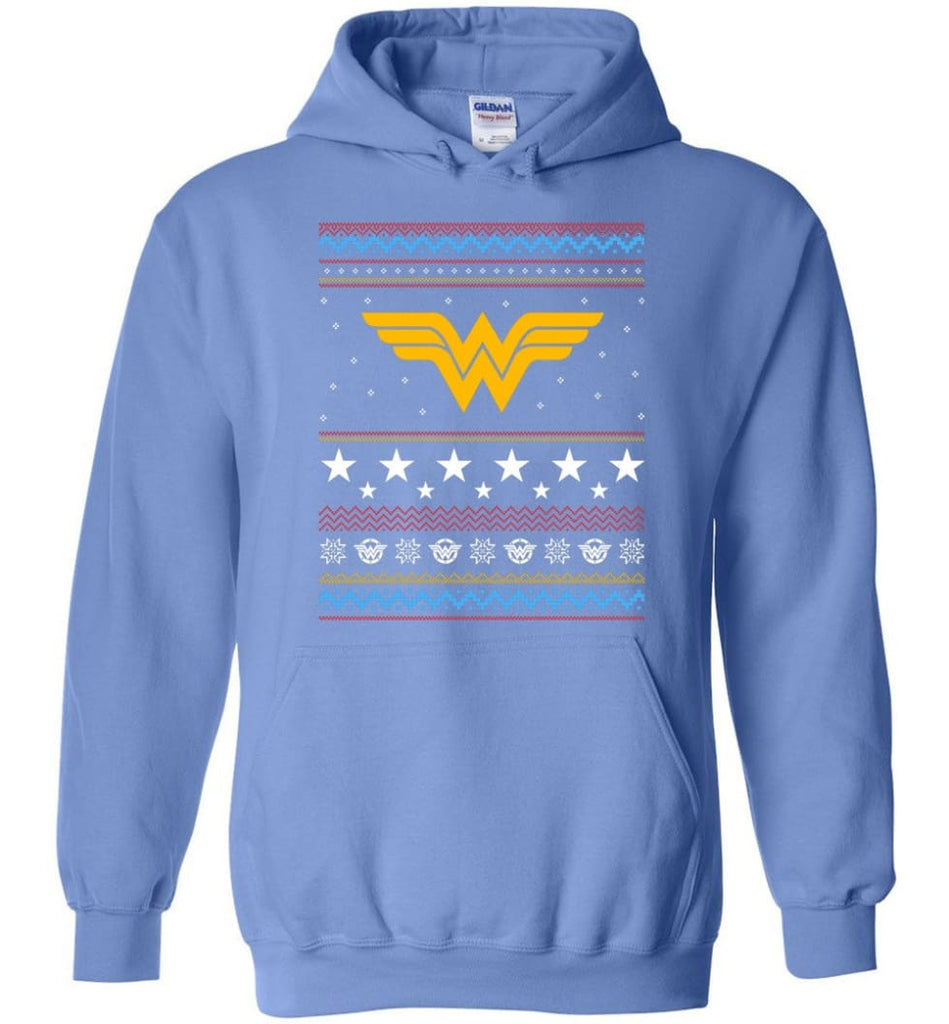 Ugly Christmas Wonder Woman Sweatshirt Hoodie Xmas Gift for Woman Ladies - Hoodie - Carolina Blue / M