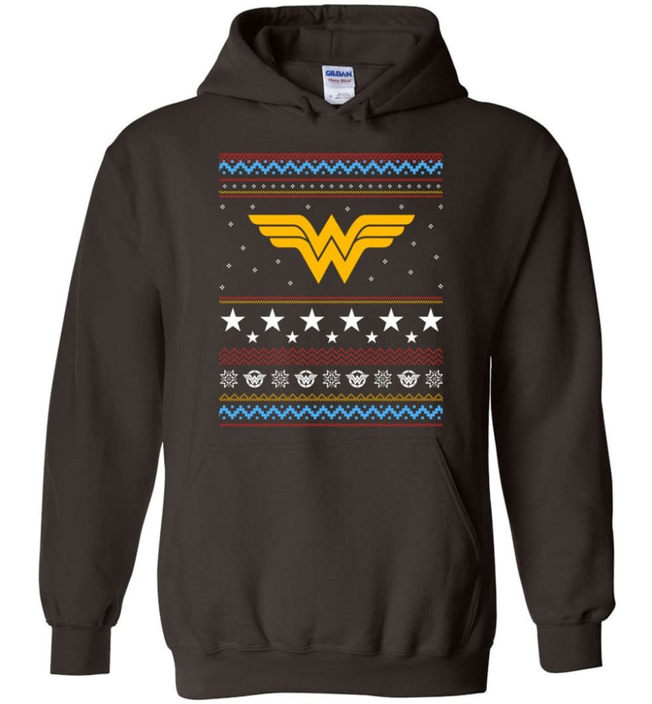 Ugly Christmas Wonder Woman Sweatshirt Hoodie Xmas Gift for Woman Ladies - Hoodie - Dark Chocolate / M