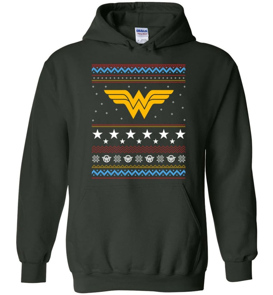 Ugly Christmas Wonder Woman Sweatshirt Hoodie Xmas Gift for Woman Ladies - Hoodie - Forest Green / M