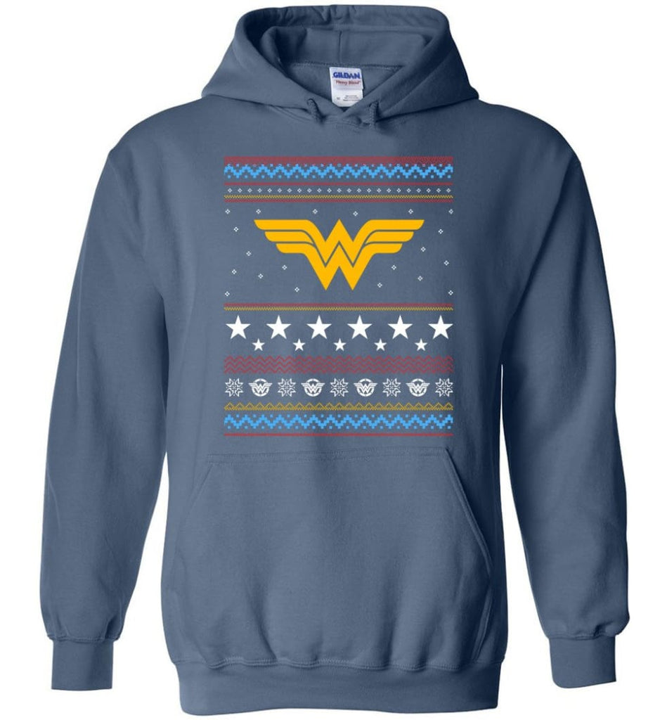 Ugly Christmas Wonder Woman Sweatshirt Hoodie Xmas Gift for Woman Ladies - Hoodie - Indigo Blue / M