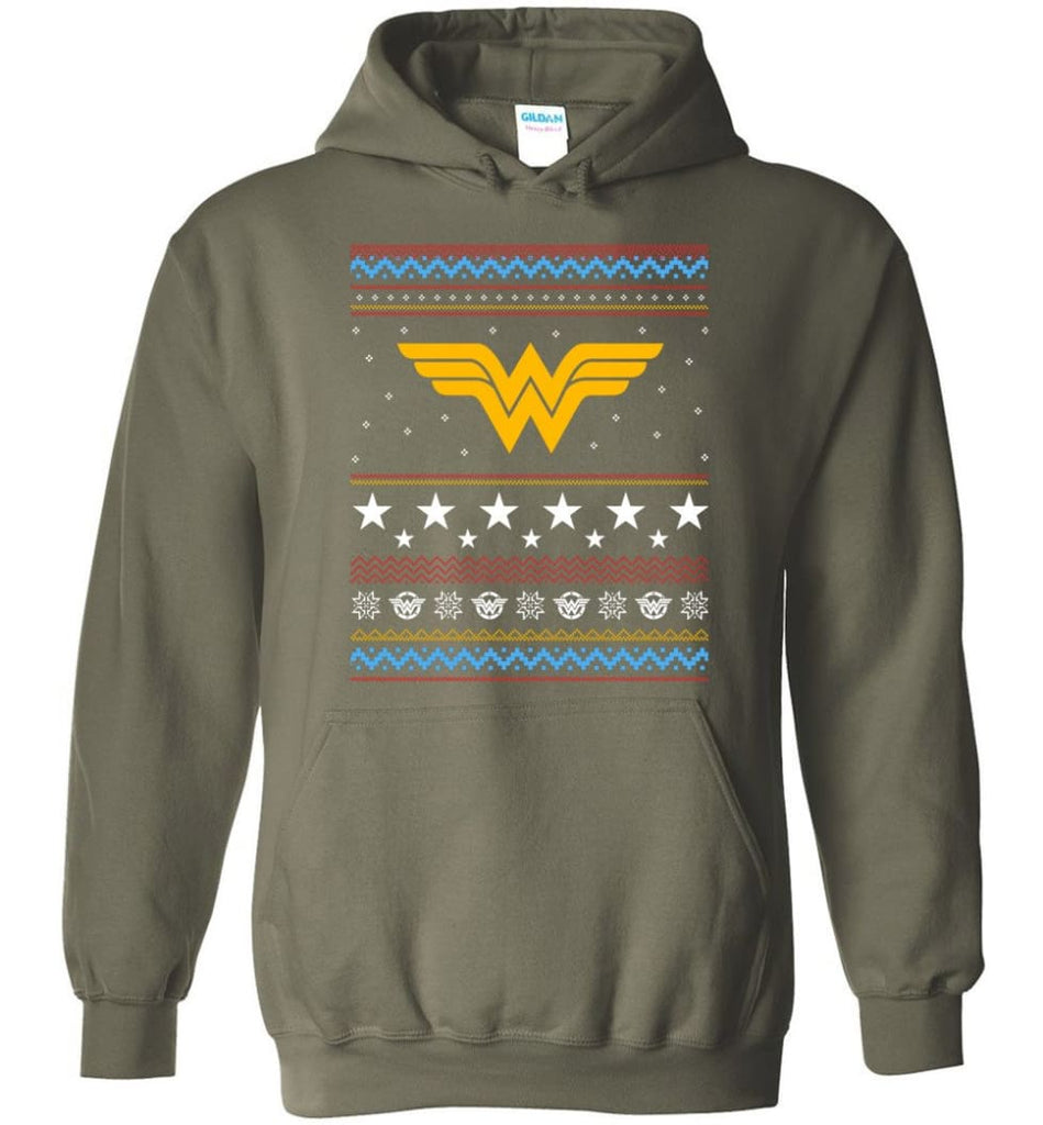 Ugly Christmas Wonder Woman Sweatshirt Hoodie Xmas Gift for Woman Ladies - Hoodie - Military Green / M