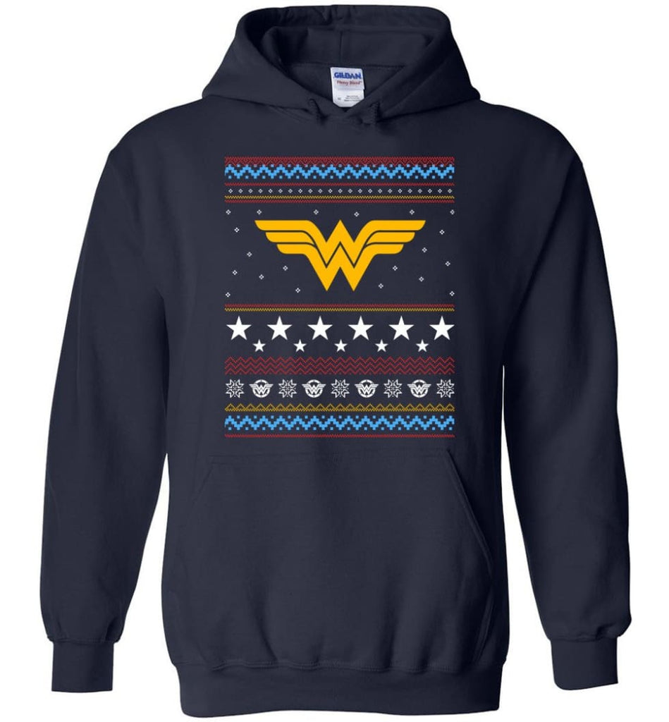 Ugly Christmas Wonder Woman Sweatshirt Hoodie Xmas Gift for Woman Ladies - Hoodie - Navy / M