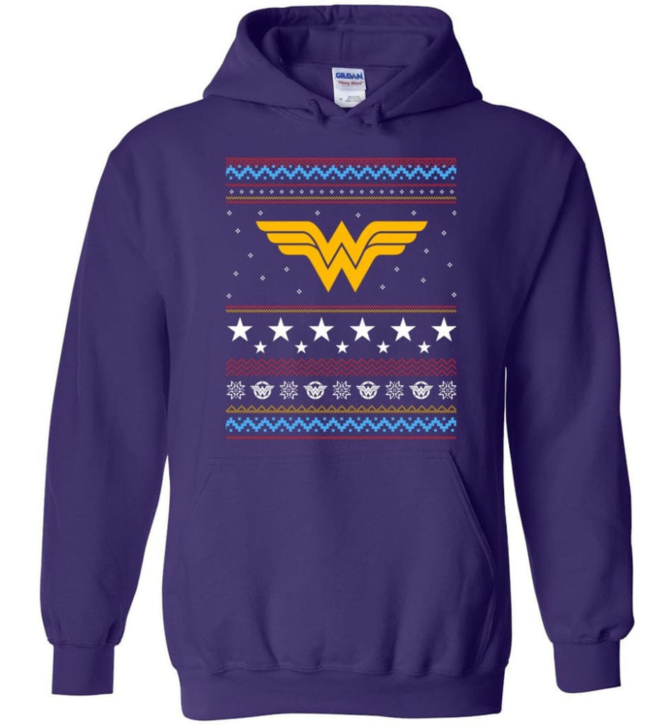 Ugly Christmas Wonder Woman Sweatshirt Hoodie Xmas Gift for Woman Ladies - Hoodie - Purple / M