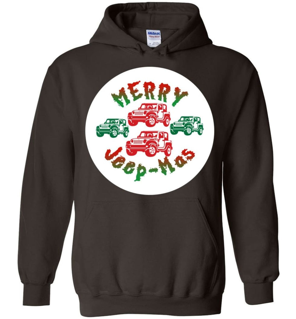 Ugly Jeep Christmas Sweater Jeep Xmas Sweater Matching Ugly Christmas Sweatshirts Merry Jeepmas Hoodie - Dark Chocolate