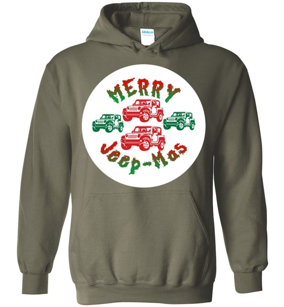 Ugly Jeep Christmas Sweater Jeep Xmas Sweater Matching Ugly Christmas Sweatshirts Merry Jeepmas Hoodie - Military Green