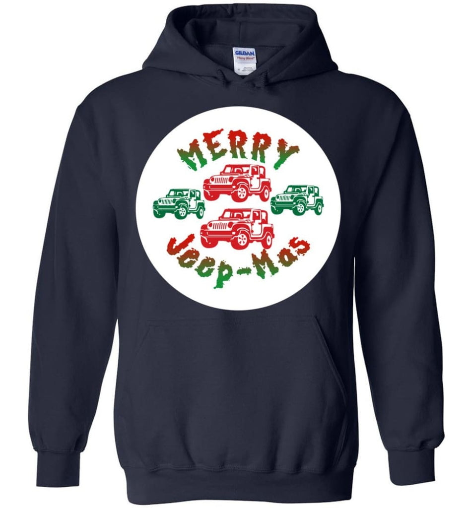 Ugly Jeep Christmas Sweater Jeep Xmas Sweater Matching Ugly Christmas Sweatshirts Merry Jeepmas Hoodie - Navy / M