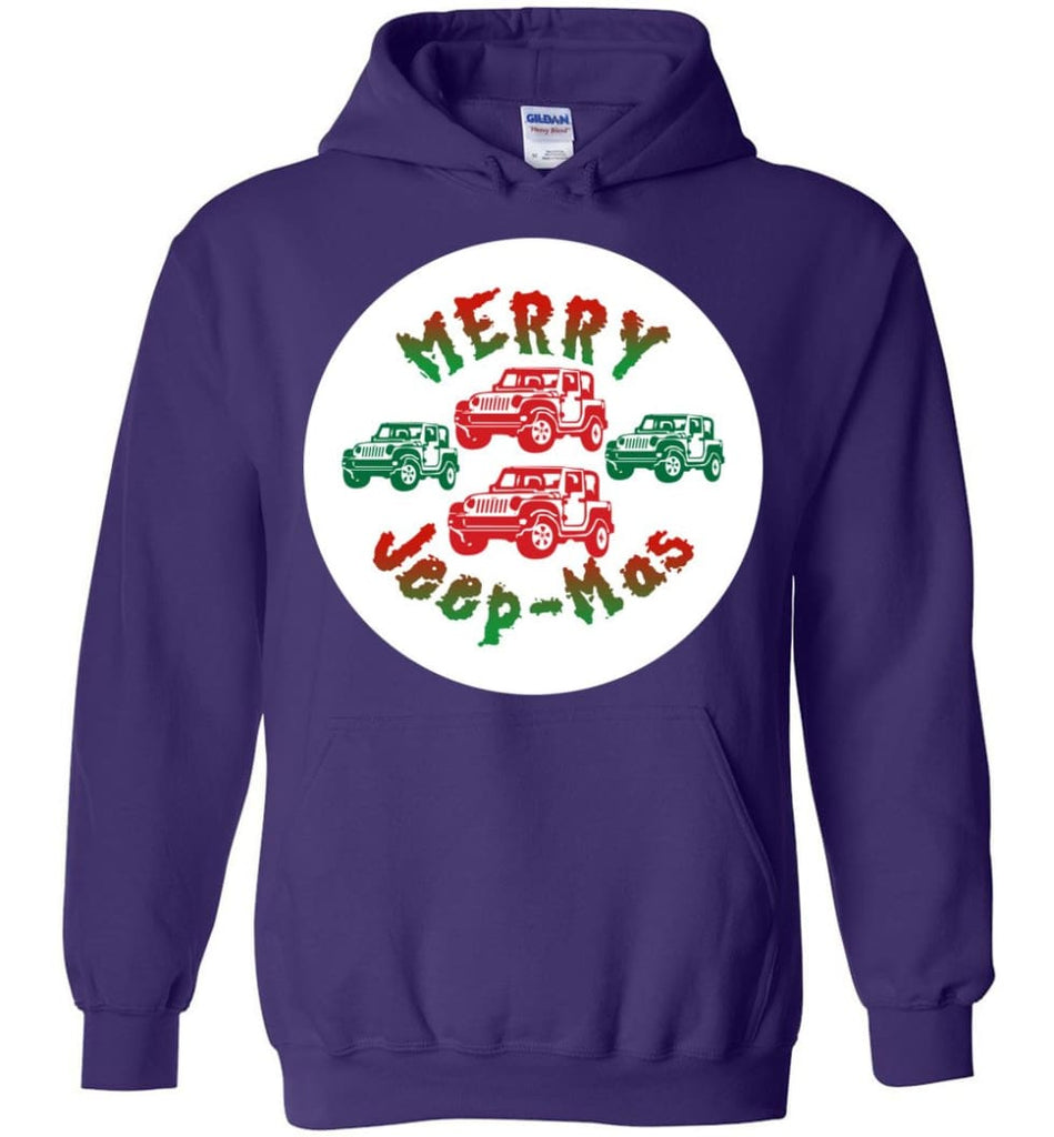 Ugly Jeep Christmas Sweater Jeep Xmas Sweater Matching Ugly Christmas Sweatshirts Merry Jeepmas Hoodie - Purple / M