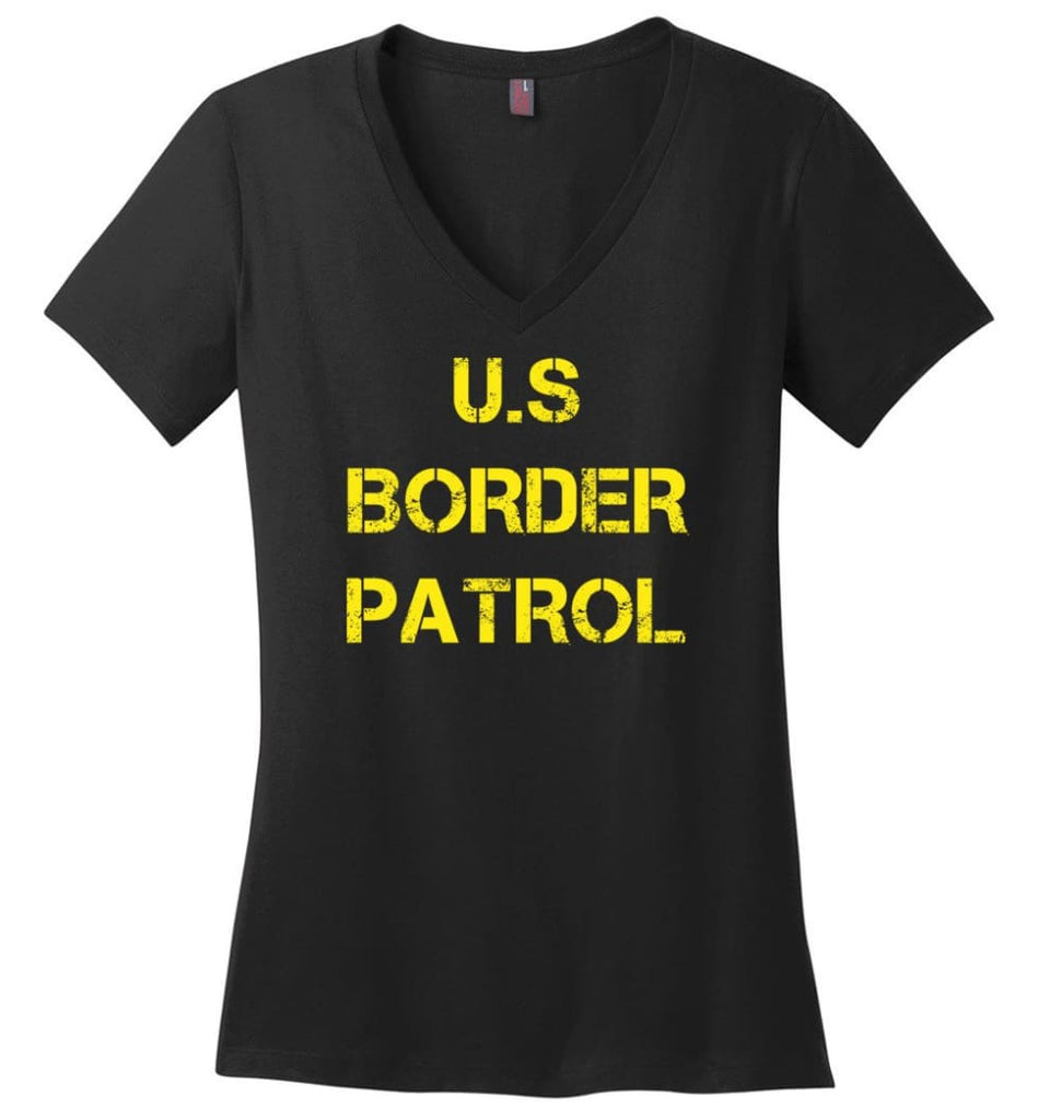 Us Border Patrol Ladies V-Neck - Black / M