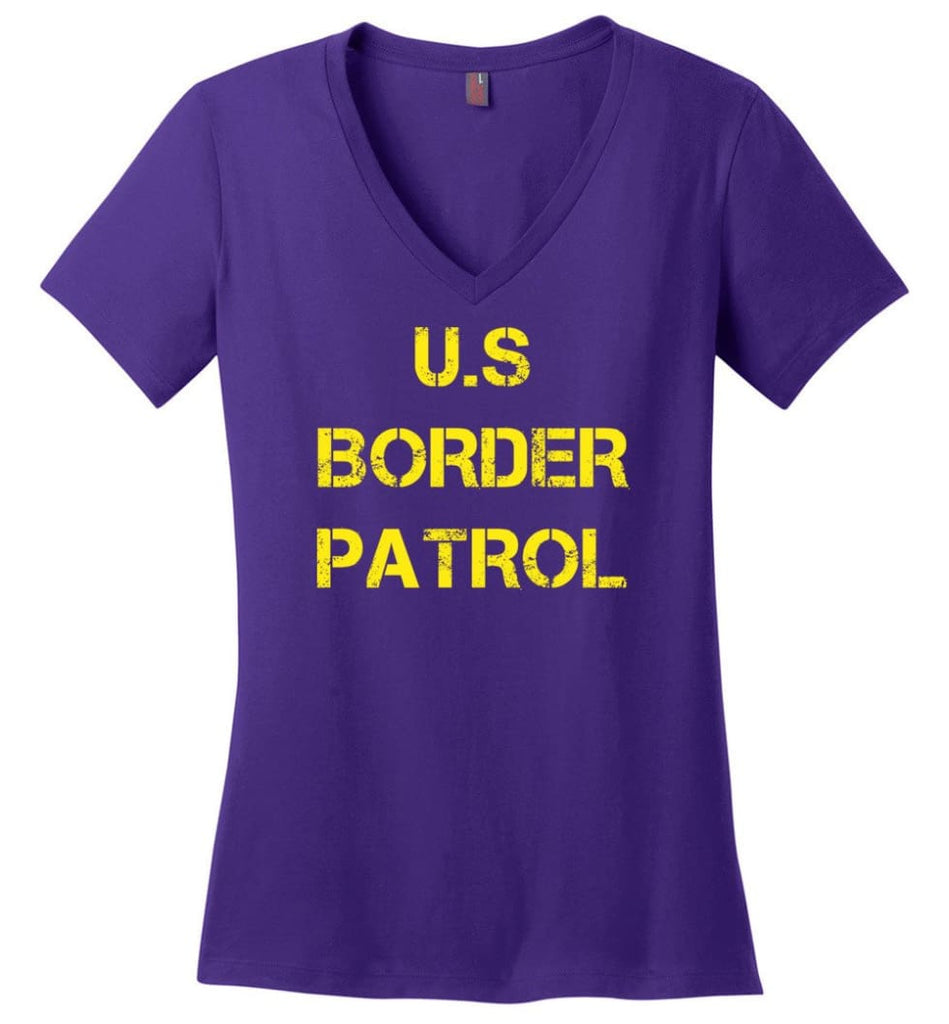 Us Border Patrol Ladies V-Neck - Purple / M