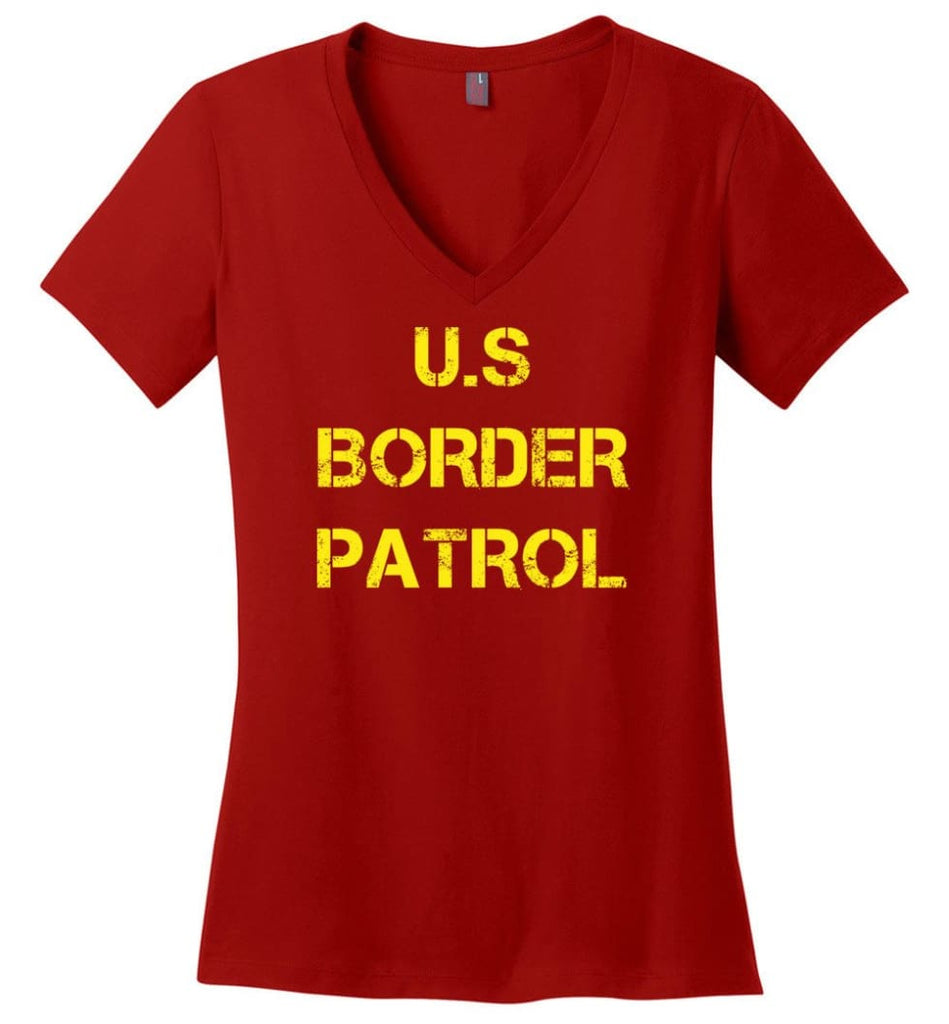 Us Border Patrol Ladies V-Neck - Red / M