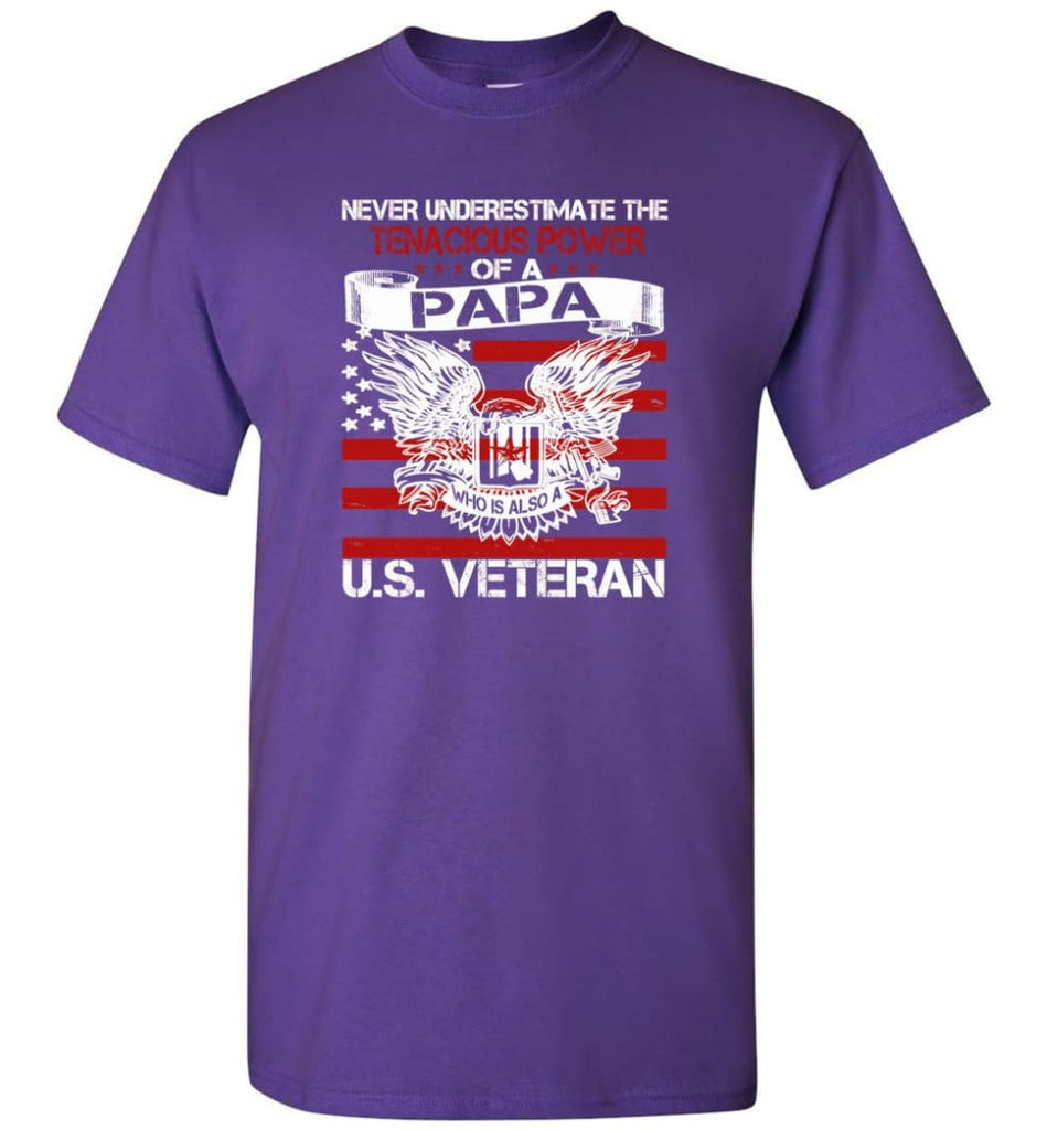 US Veterans Shirt Never Underestimate The Power Of PaPa - Short Sleeve T-Shirt - Purple / S