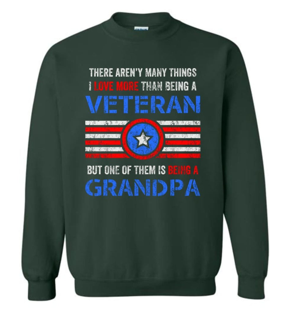 Veteran Grandpa T Shirt Combat Veteran Sweatshirt Proud Navy Grandpa Sweatshirt - Forest Green / M