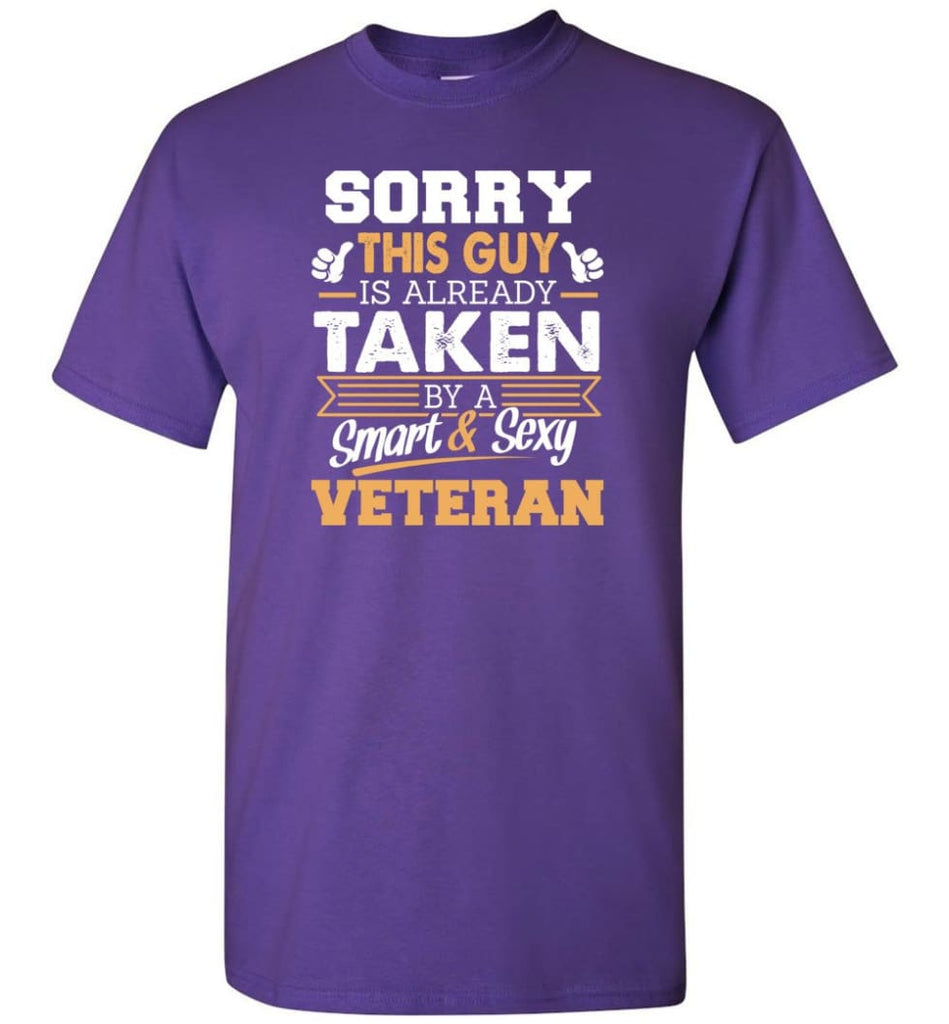 Veteran Shirt Cool Gift for Boyfriend Husband or Lover - Short Sleeve T-Shirt - Purple / S
