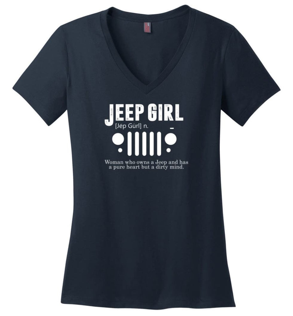 Vintage Jeep Shirt Pure Heart But Dirty Mind Jeep Girl Jeep Wife Ladies V-Neck - Navy / M - Ladies V-Neck