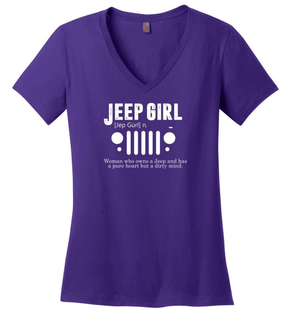 Vintage Jeep Shirt Pure Heart But Dirty Mind Jeep Girl Jeep Wife Ladies V-Neck - Purple / M - Ladies V-Neck