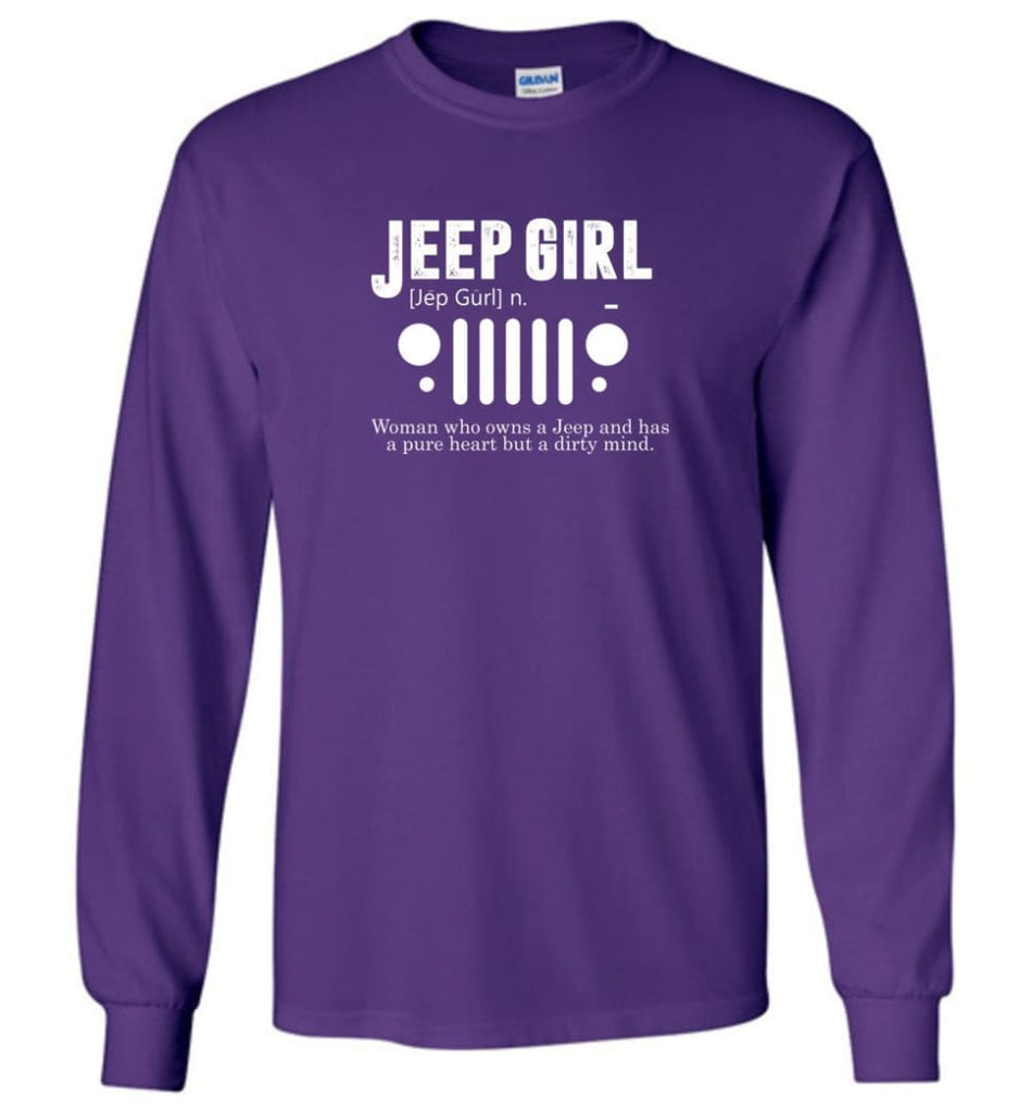 Vintage Jeep Shirt Pure Heart But Dirty Mind Jeep Girl Jeep Wife Long Sleeve T-Shirt - Purple / M - Long Sleeve T-Shirt