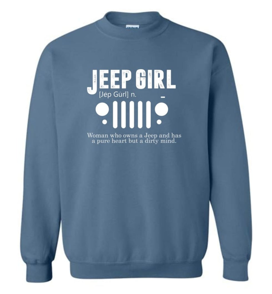 Vintage Jeep Shirt Pure Heart But Dirty Mind Hooded Sweatshirt Jeep Girl Jeep Wife Sweatshirt - Indigo Blue / M -