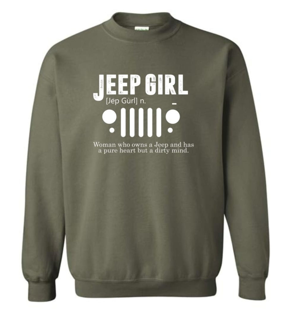 Vintage Jeep Shirt Pure Heart But Dirty Mind Hooded Sweatshirt Jeep Girl Jeep Wife Sweatshirt - Military Green / M -