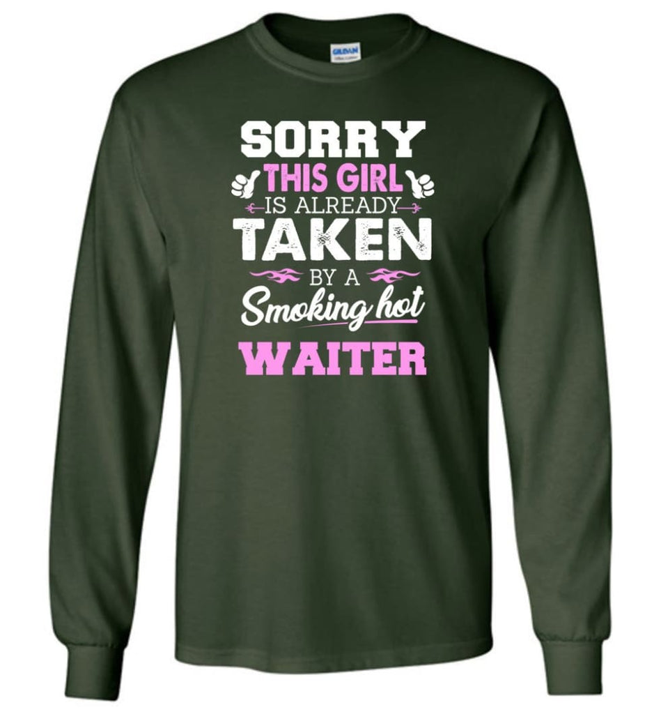 Waiter Shirt Cool Gift For Girlfriend Wife Long Sleeve - Forest Green / M