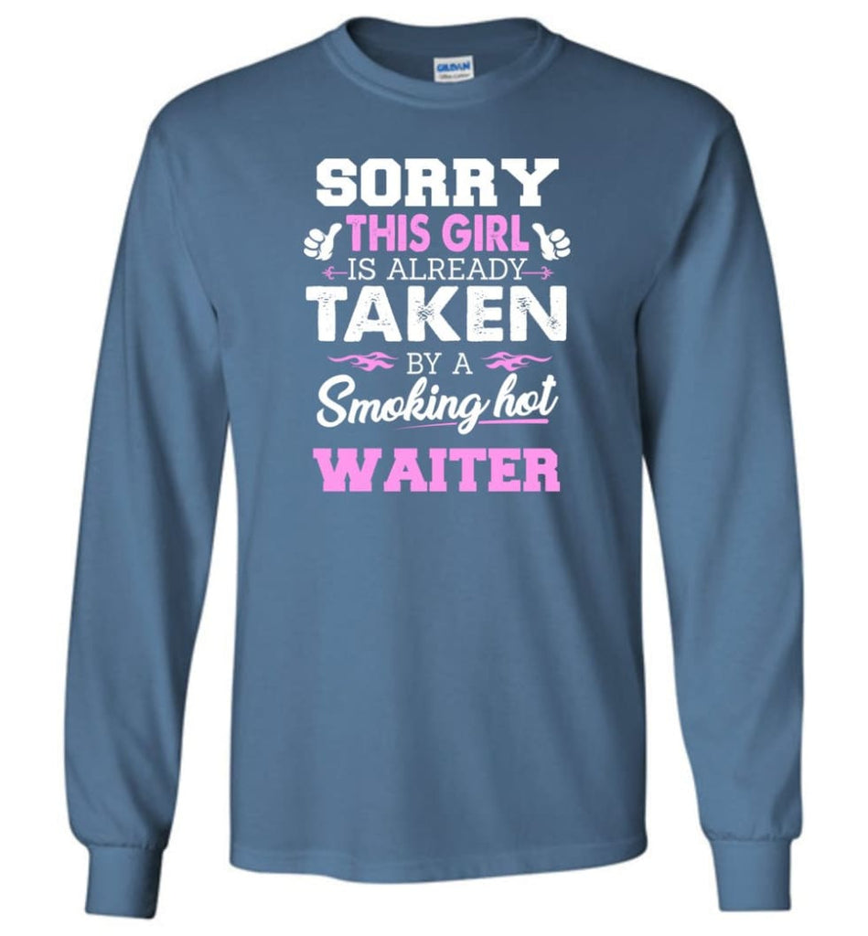 Waiter Shirt Cool Gift For Girlfriend Wife Long Sleeve - Indigo Blue / M