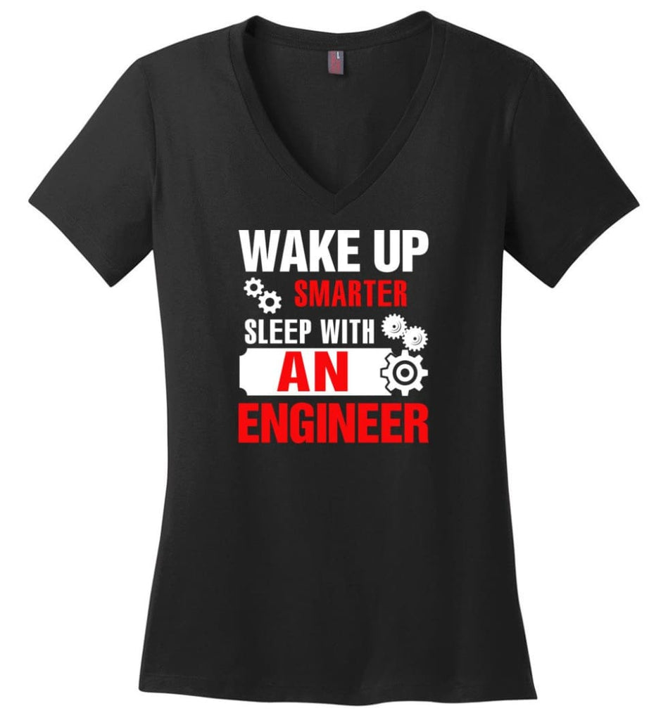 Wake Up Smarter Sleep With An Engineer Ladies V-Neck - Black / M