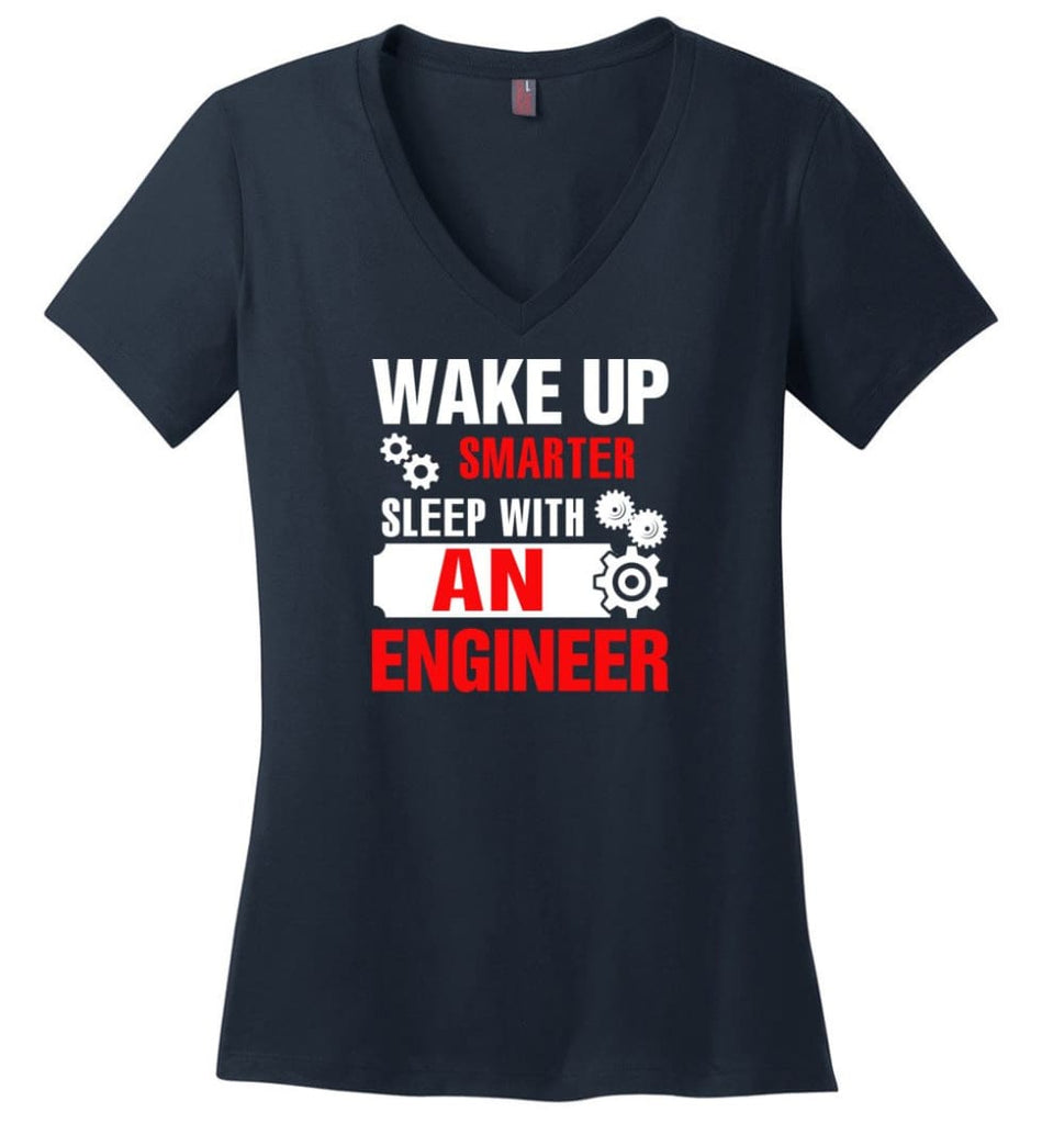 Wake Up Smarter Sleep With An Engineer Ladies V-Neck - Navy / M