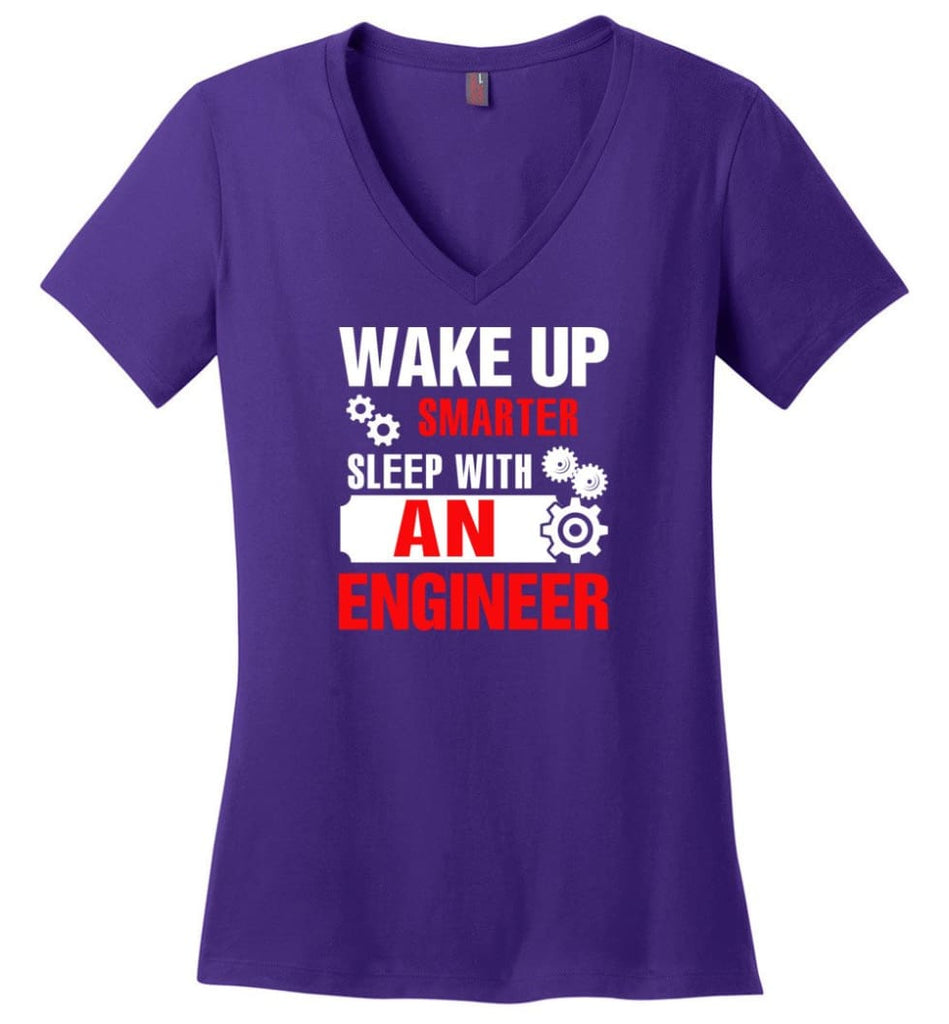 Wake Up Smarter Sleep With An Engineer Ladies V-Neck - Purple / M