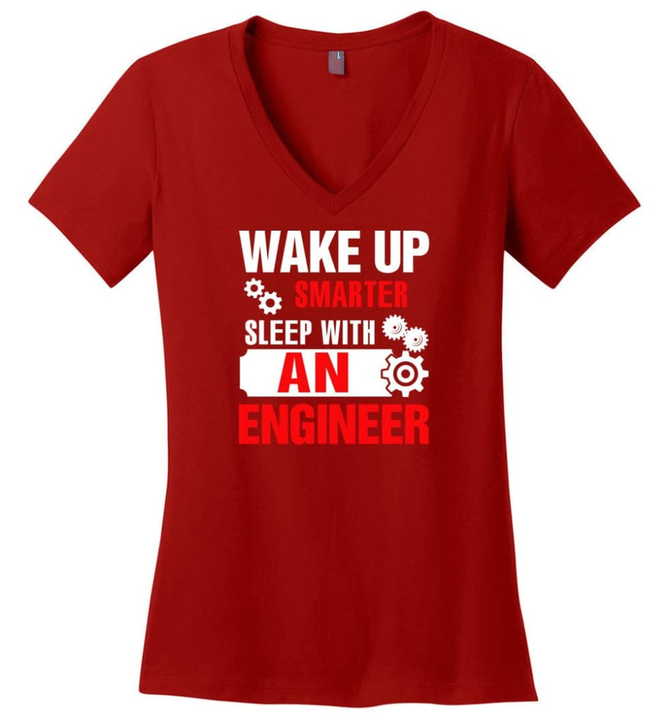 Wake Up Smarter Sleep With An Engineer Ladies V-Neck - Red / M