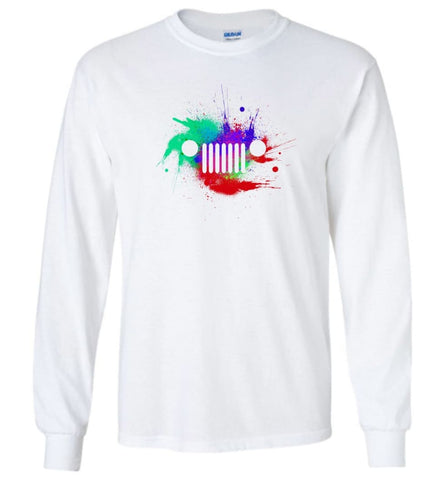Watercolor Jeep Grill - Long Sleeve - White / M - Long Sleeve