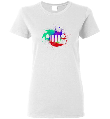 Watercolor Jeep Grill - Women Tee - White / M - Women Tee