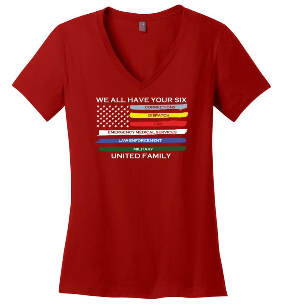 We All Have Your Six United Family Ladies V-Neck - Red / M