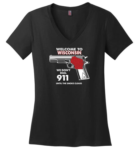 Welcome to Wisconsin 2nd Amendment Supporters Ladies V-Neck - Black / M