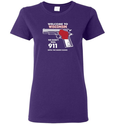 Welcome to Wisconsin 2nd Amendment Supporters Women Tee - Purple / M