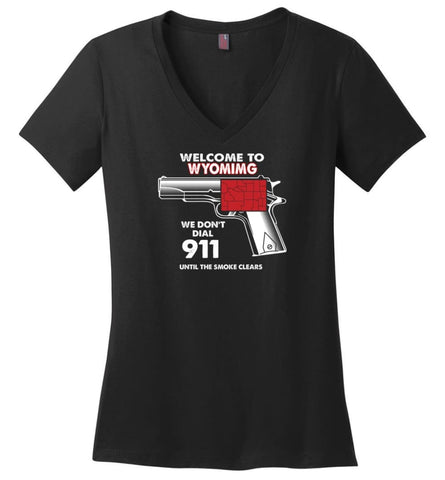 Welcome to Wyoming 2nd Amendment Supporters Ladies V-Neck - Black / M