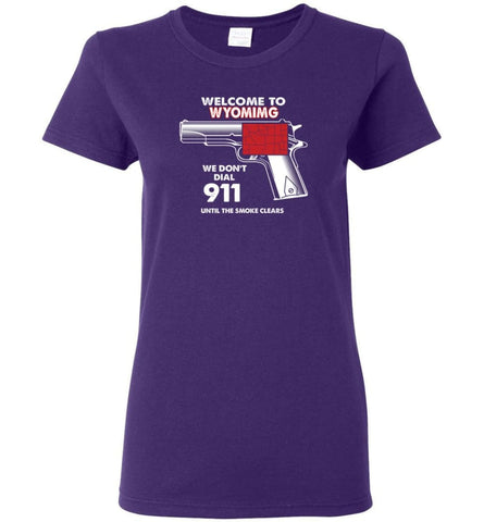 Welcome to Wyoming 2nd Amendment Supporters Women Tee - Purple / M