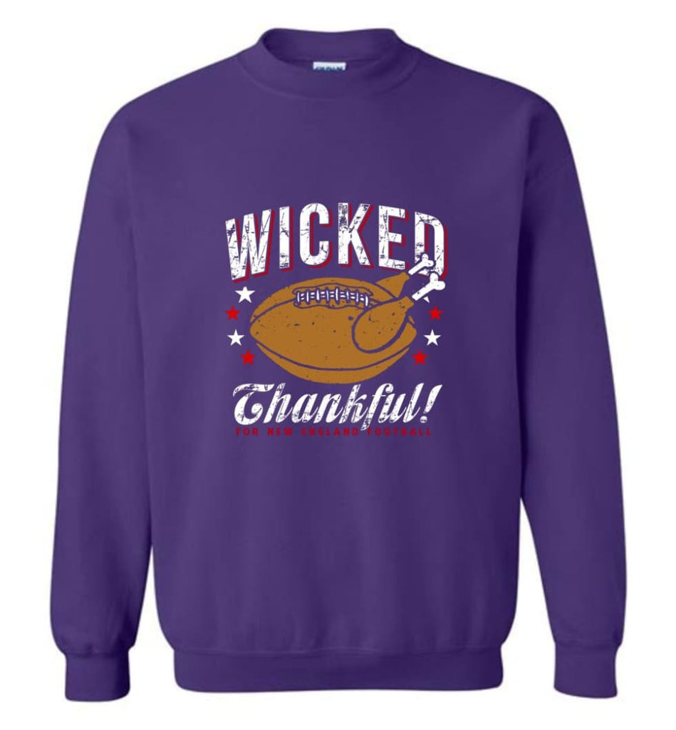 Wicked Thankful New England Football - Sweatshirt - Purple / M