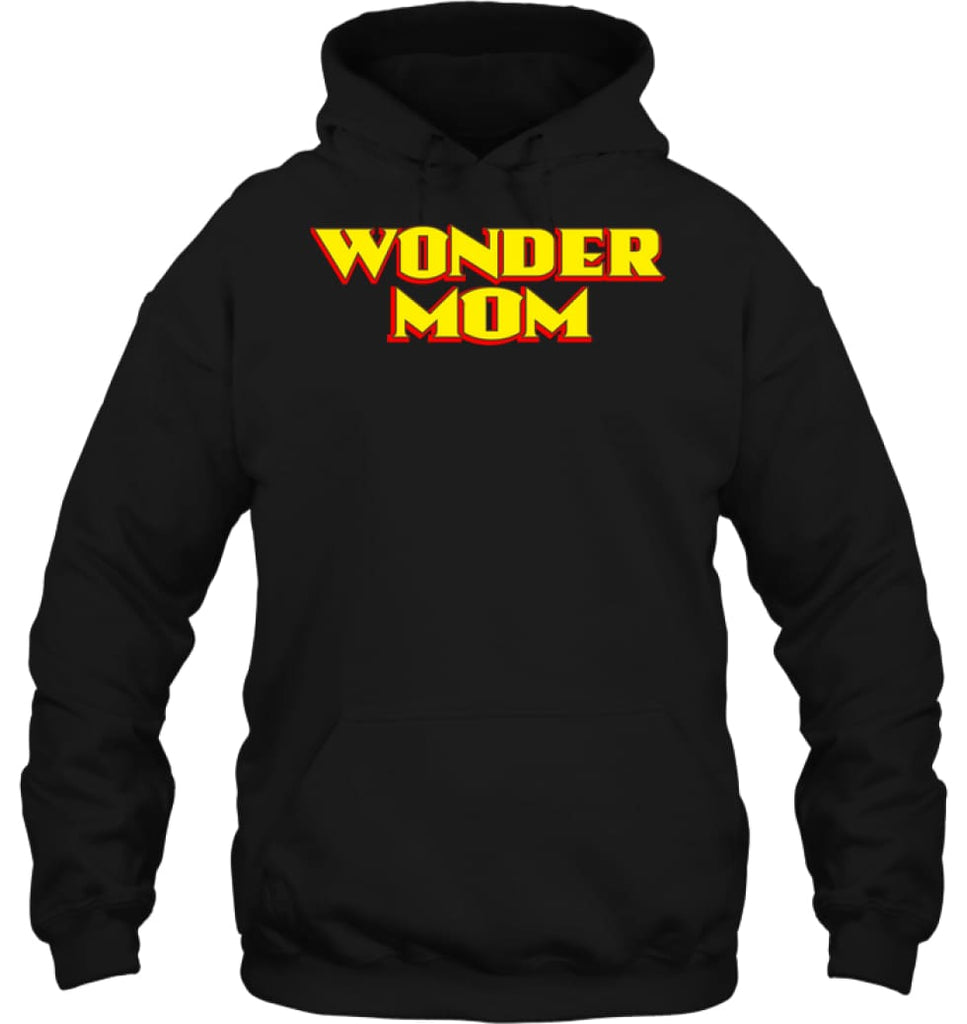 Wonder Mom Best Christmas Gift for Mom Hoodie - Gildan 8oz. Heavy Blend Hoodie / Black / S - Apparel