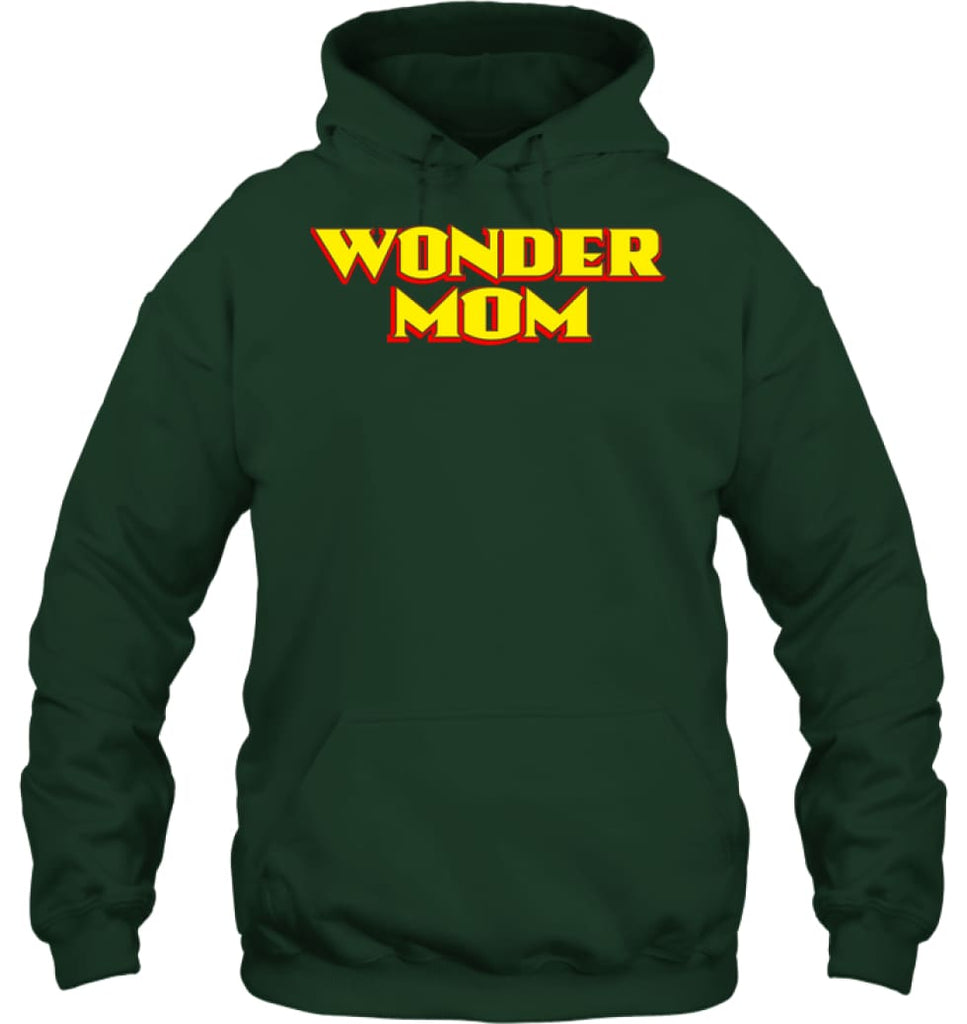 Wonder Mom Best Christmas Gift for Mom Hoodie - Gildan 8oz. Heavy Blend Hoodie / Forest Green / S - Apparel