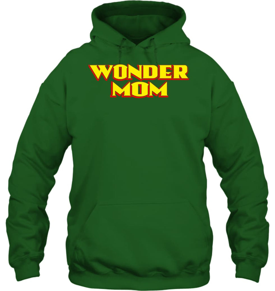 Wonder Mom Best Christmas Gift for Mom Hoodie - Gildan 8oz. Heavy Blend Hoodie / Irish Green / S - Apparel