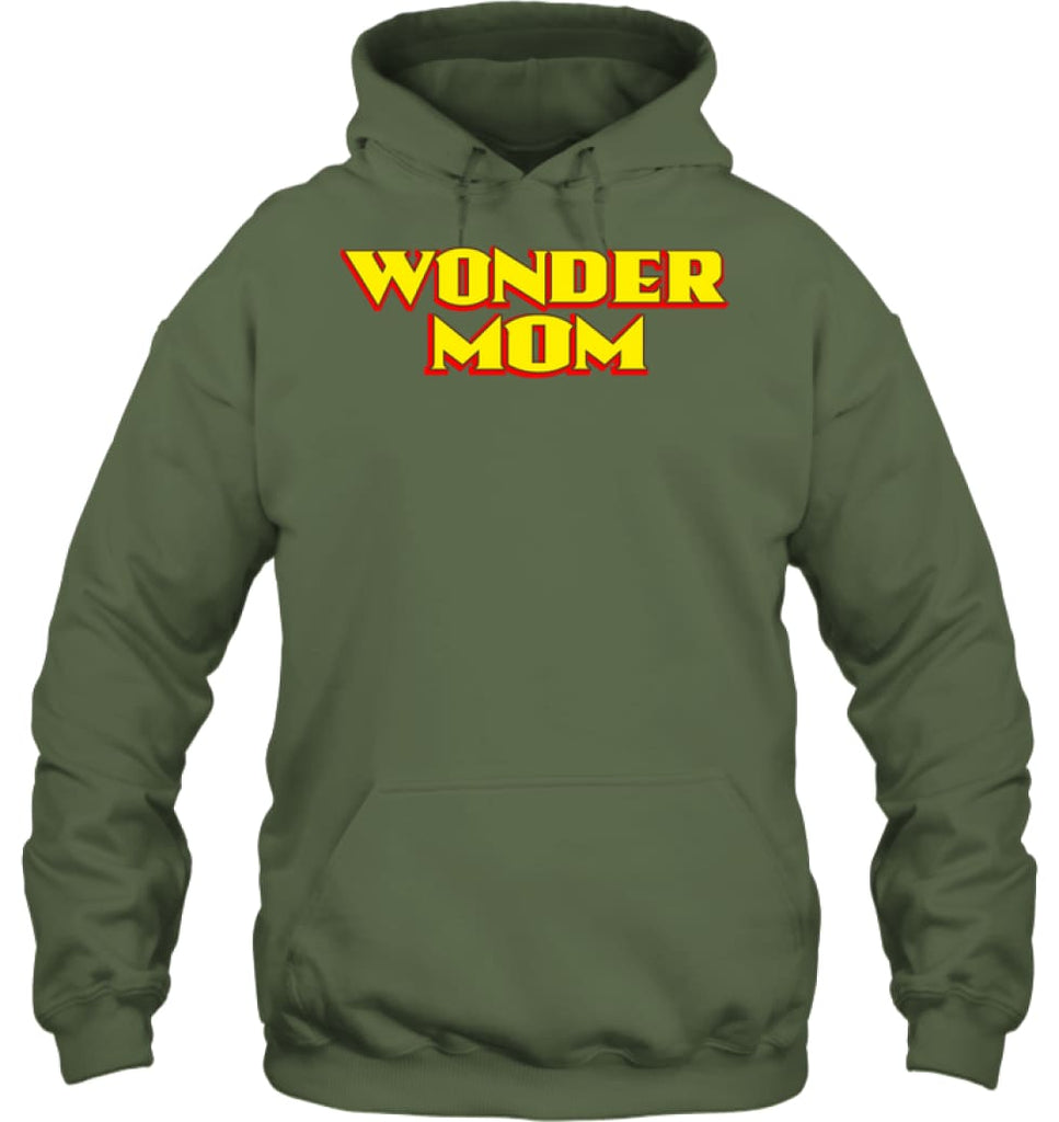 Wonder Mom Best Christmas Gift for Mom Hoodie - Gildan 8oz. Heavy Blend Hoodie / Military Green / S - Apparel