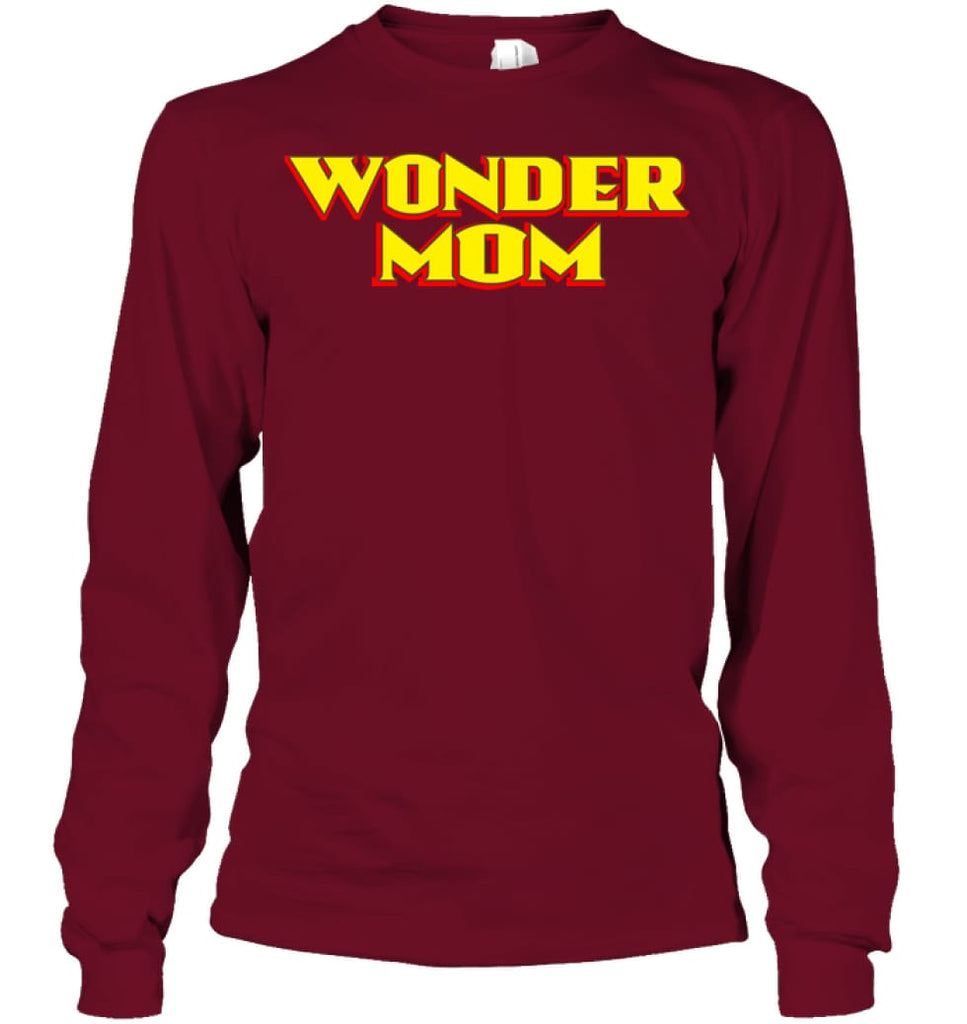 Wonder Mom Best Christmas Gift for Mom Long Sleeve - Gildan 6.1oz Long Sleeve / Cardinal Red / S - Apparel