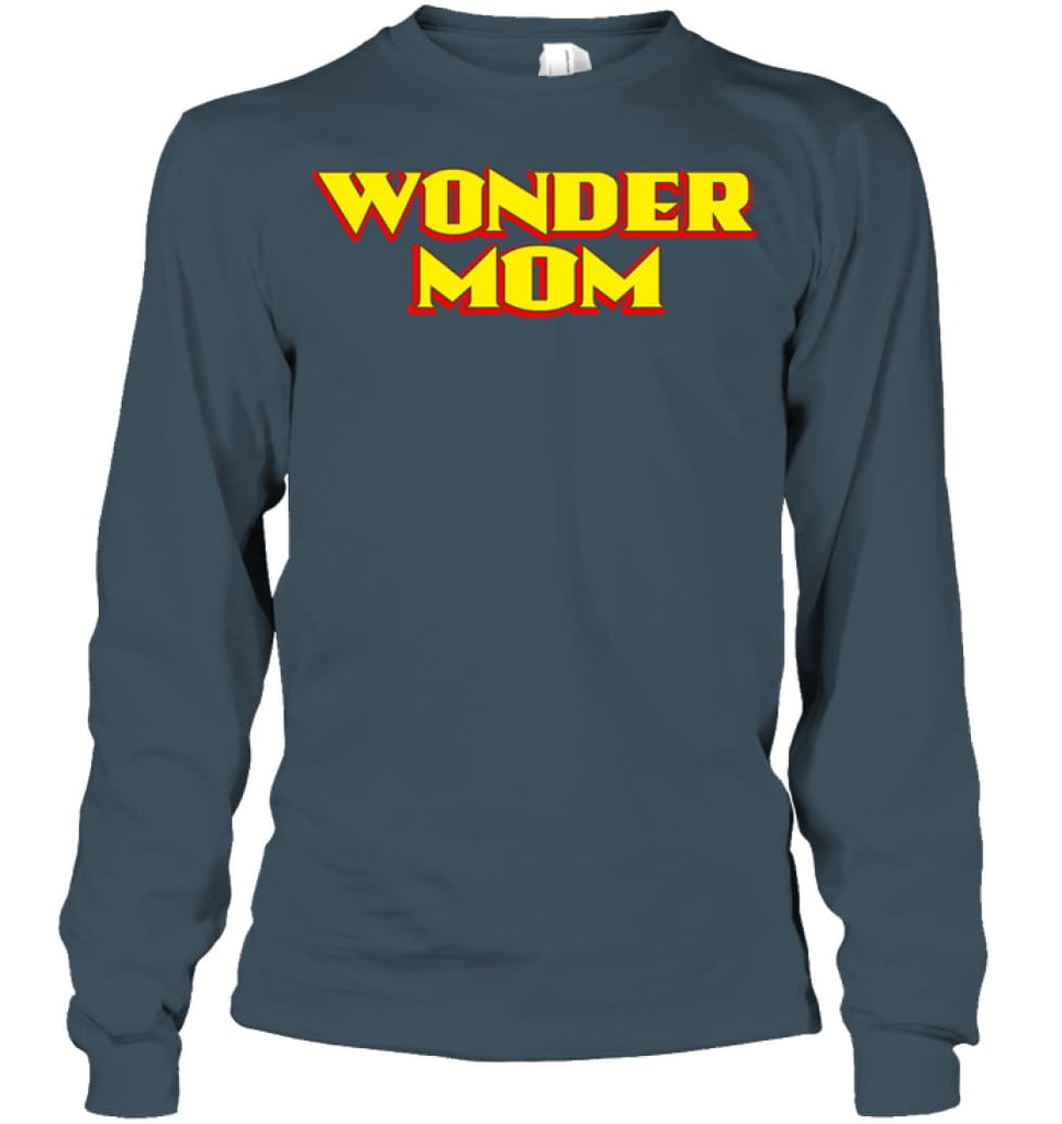 Wonder Mom Best Christmas Gift for Mom Long Sleeve - Gildan 6.1oz Long Sleeve / Dark Heather / S - Apparel
