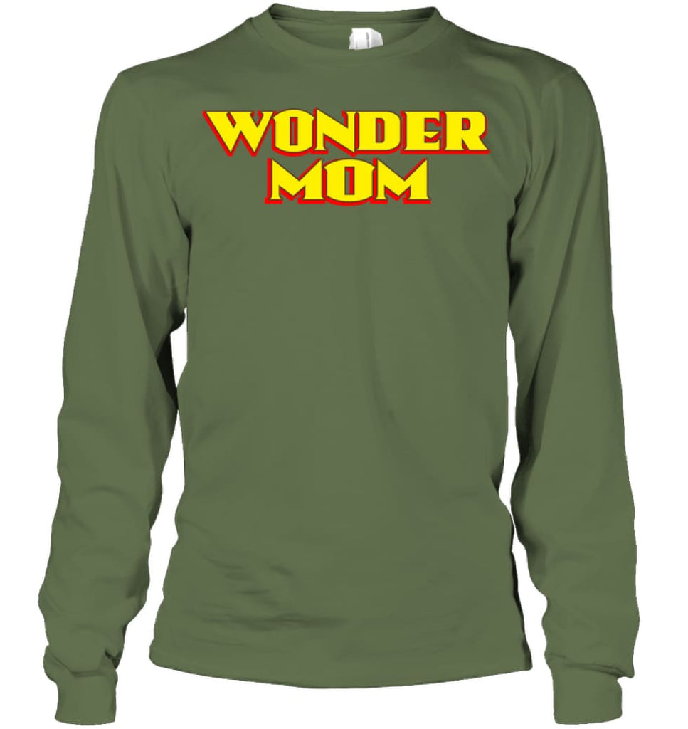 Wonder Mom Best Christmas Gift for Mom Long Sleeve - Gildan 6.1oz Long Sleeve / Military Green / S - Apparel