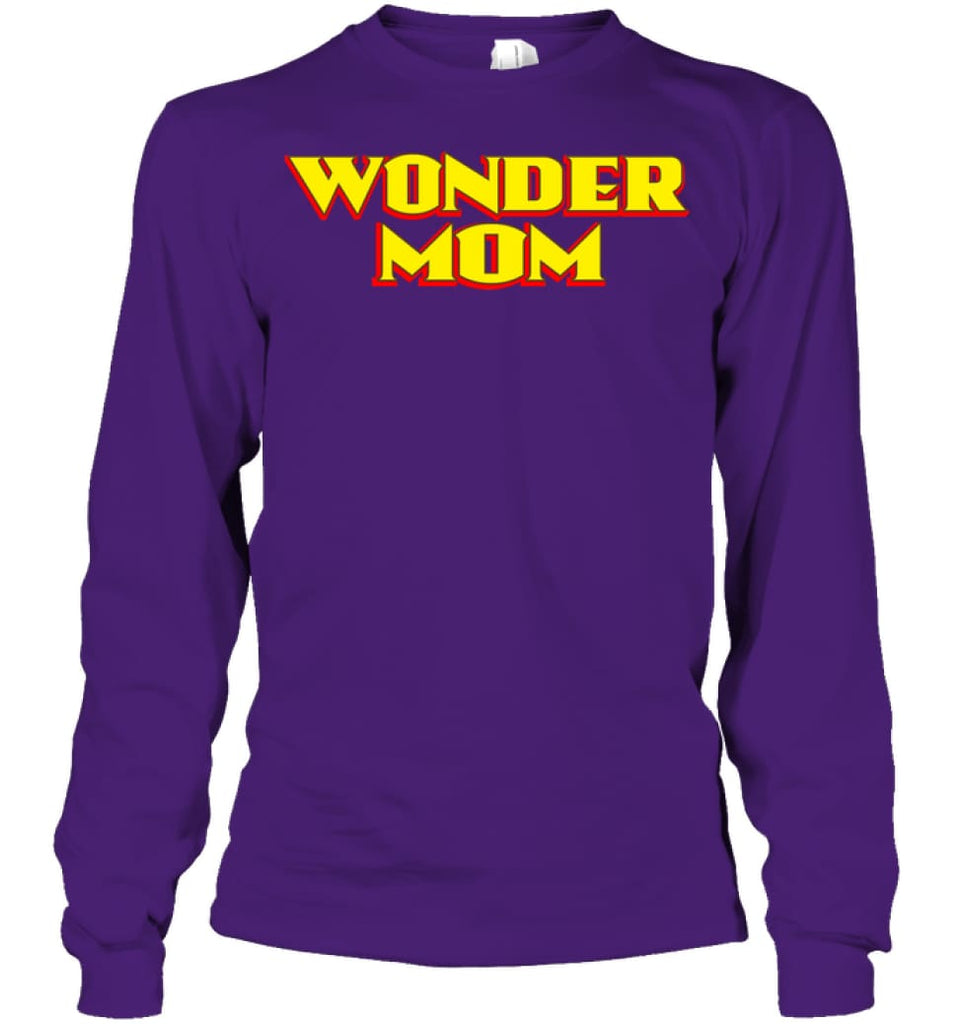 Wonder Mom Best Christmas Gift for Mom Long Sleeve - Gildan 6.1oz Long Sleeve / Purple / S - Apparel