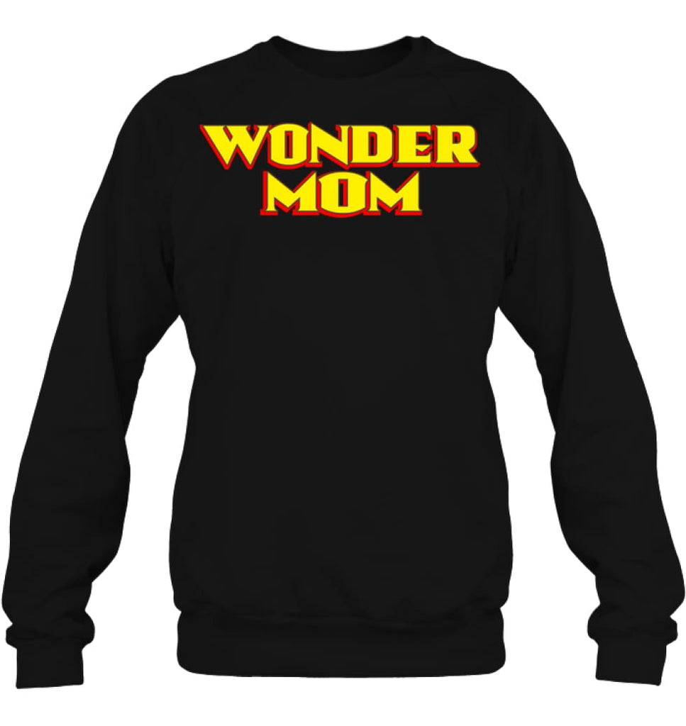Wonder Mom Best Christmas Gift for Mom Sweatshirt - Hanes Unisex Crewneck Sweatshirt / Black / S - Apparel