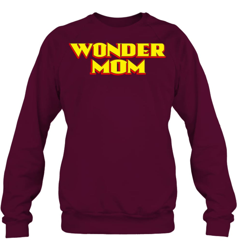 Wonder Mom Best Christmas Gift for Mom Sweatshirt - Hanes Unisex Crewneck Sweatshirt / Maroon / S - Apparel