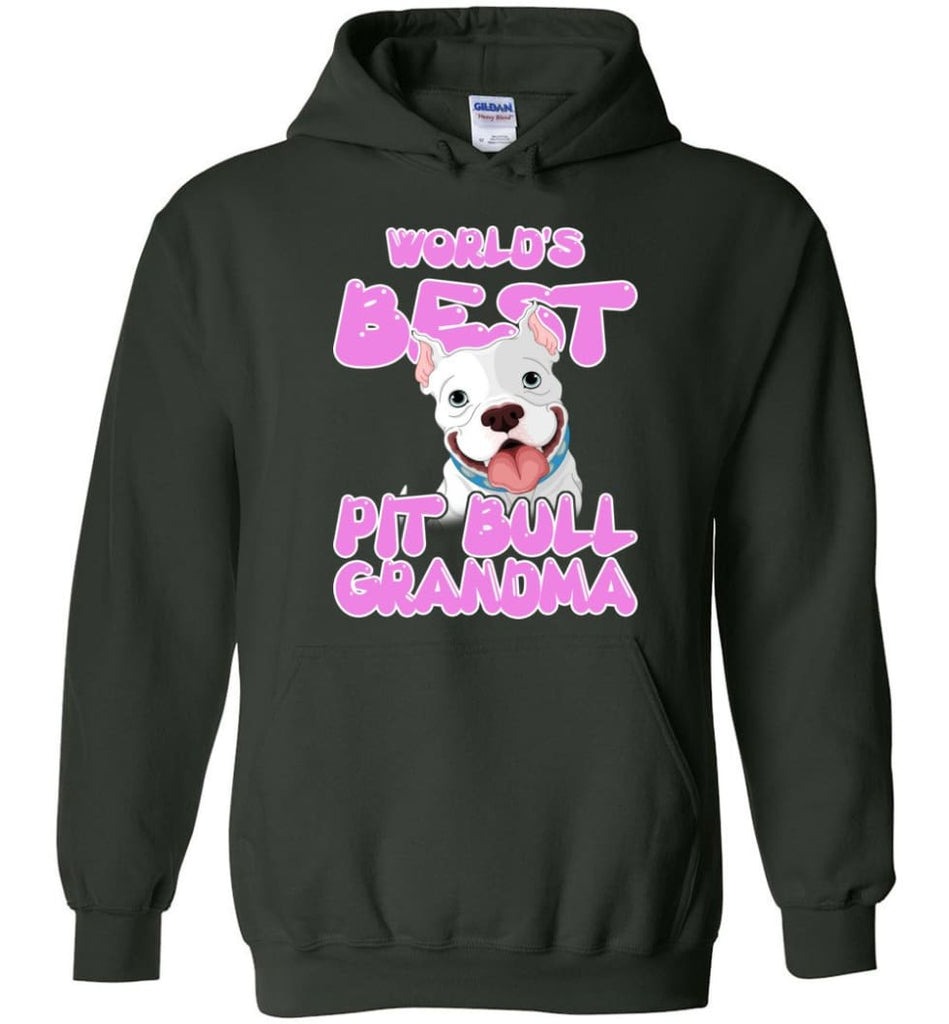 World's Best Pit Bull Grandma Pit Bull Lover Mama Pit Bull Owner Hoodie - Forest Green / M