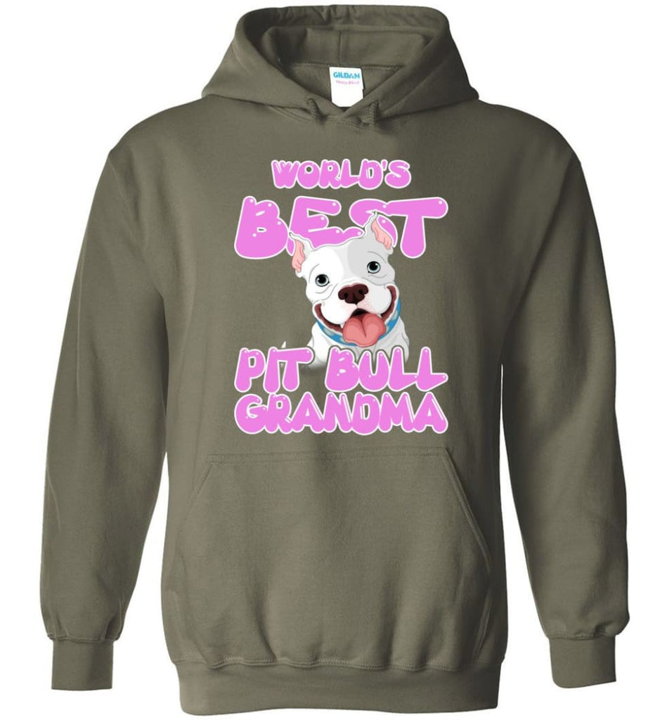 World's Best Pit Bull Grandma Pit Bull Lover Mama Pit Bull Owner Hoodie - Military Green / M