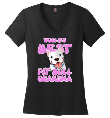 Worlds Best Pit Bull Grandma Pit Bull Lover Mama Pit Bull Owner Ladies V Neck - Black / M - womens apparel