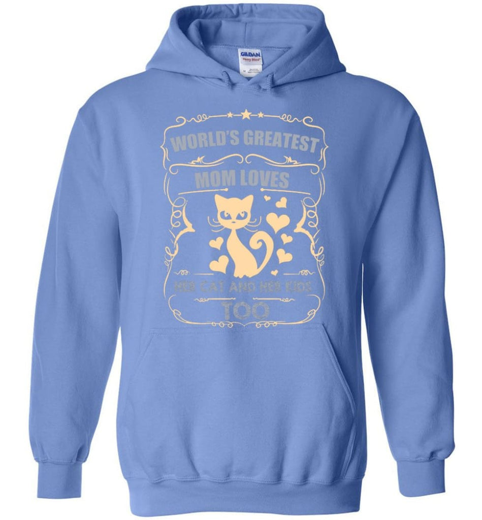 World's Greatest Mom Loves Cat and Her Kids Too Funny Cat Mom Christmas Sweater - Hoodie - Carolina Blue / M